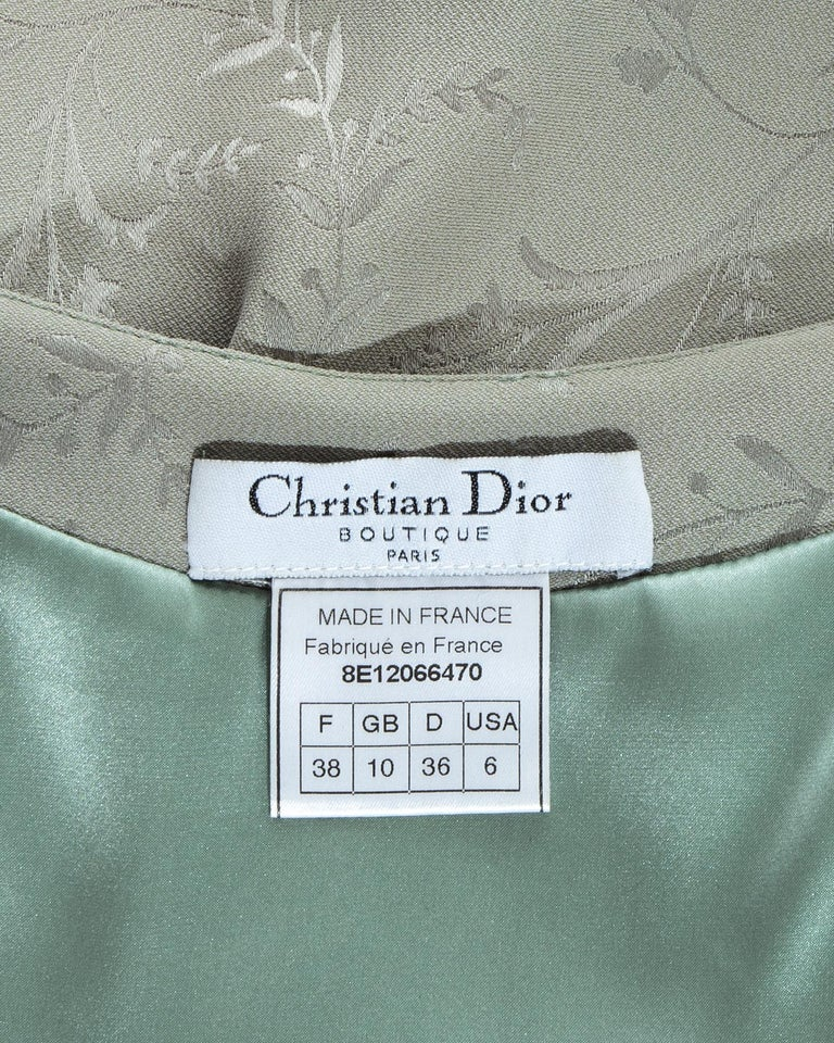 Women's Christian Dior by John Galliano dusty blue silk brocade slip dress, ss 1998 For Sale