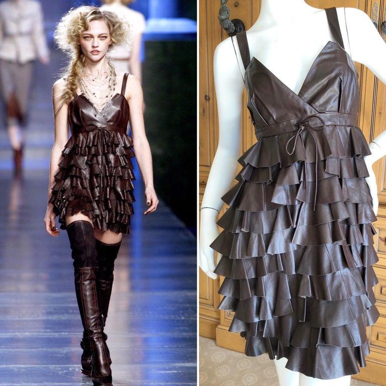 Christian Dior by John Galliano Lamb Skin Leather Ruffled Mini Dress Dark brown , as worn by Sasha on the runway From Fall 2010  Size 38 Bust 36