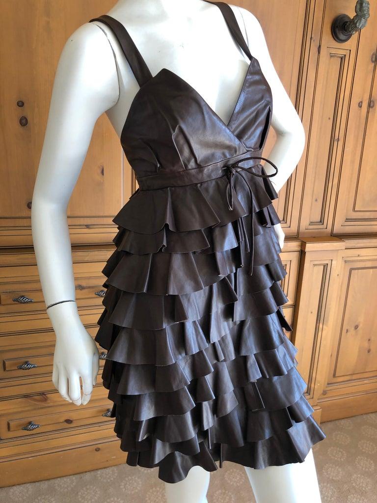 Black Christian Dior by John Galliano Fall 2010 Lamb Skin Leather Ruffled Mini Dress For Sale
