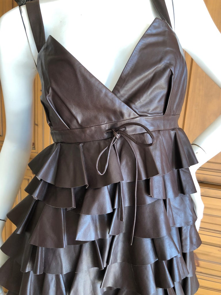Christian Dior by John Galliano Fall 2010 Lamb Skin Leather Ruffled Mini Dress In Excellent Condition For Sale In San Francisco, CA
