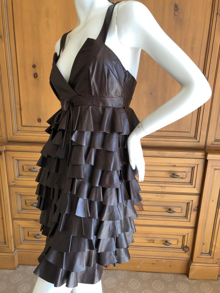 Women's Christian Dior by John Galliano Fall 2010 Lamb Skin Leather Ruffled Mini Dress For Sale