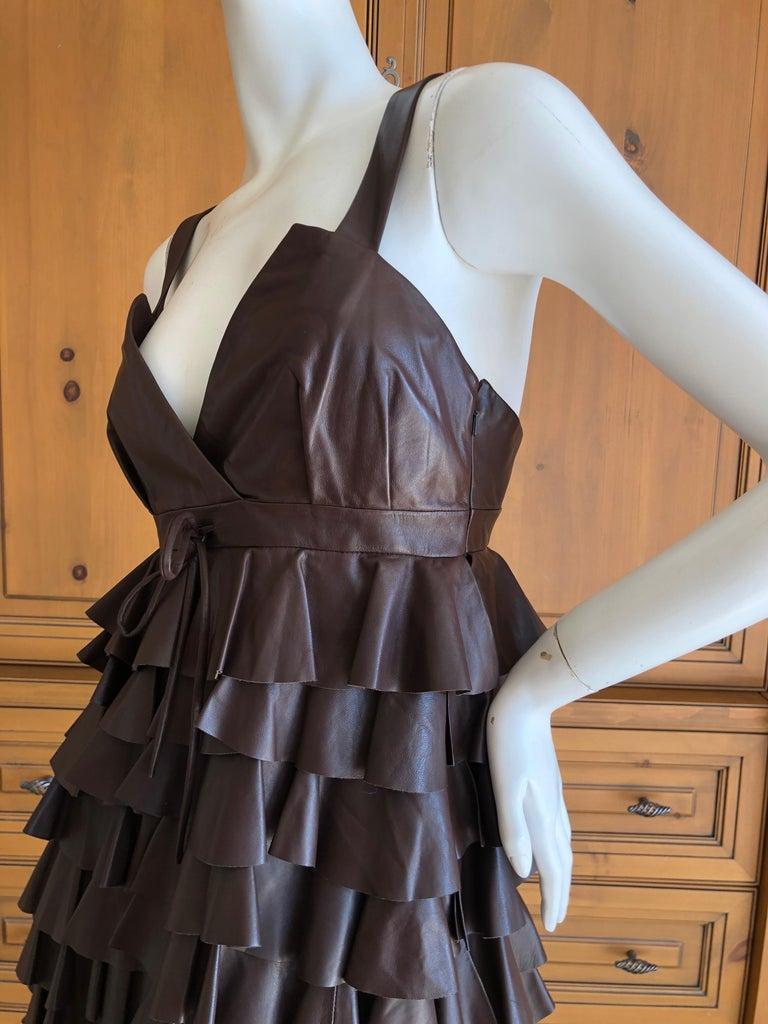 Christian Dior by John Galliano Fall 2010 Lamb Skin Leather Ruffled Mini Dress For Sale 1