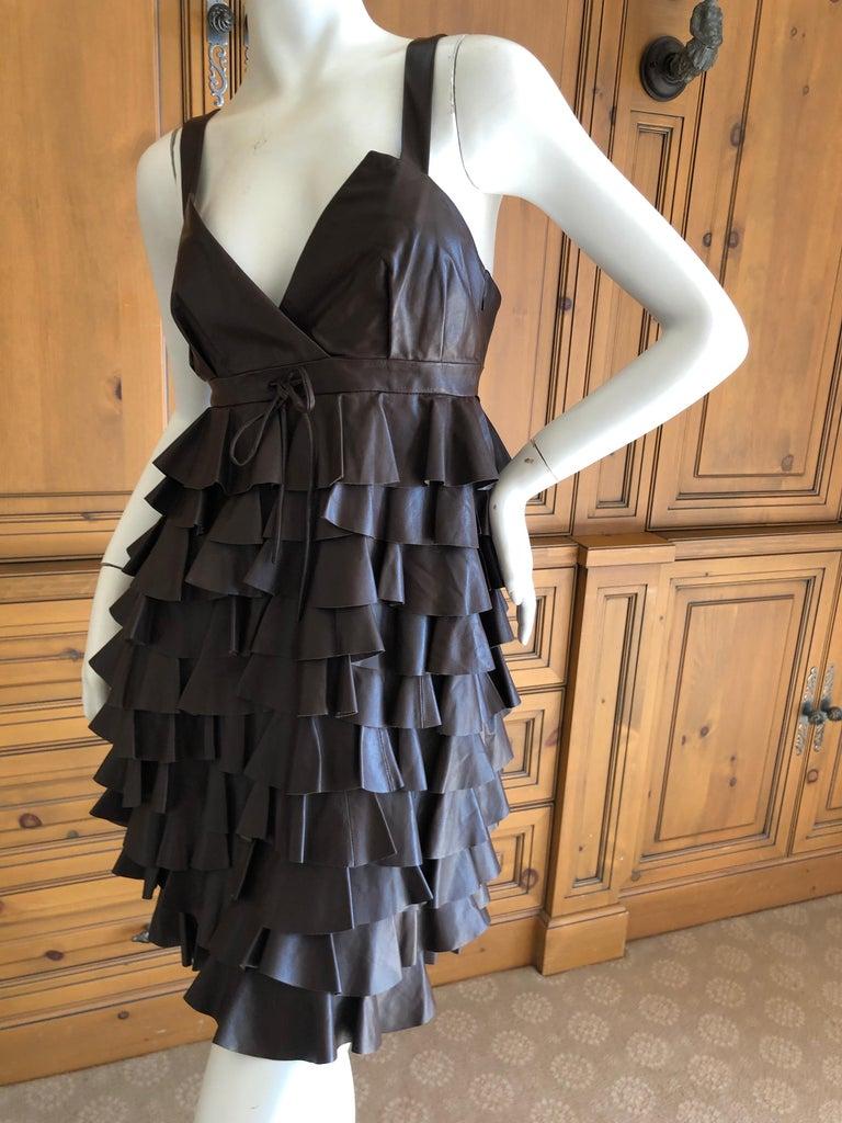 Christian Dior by John Galliano Fall 2010 Lamb Skin Leather Ruffled Mini Dress For Sale 2