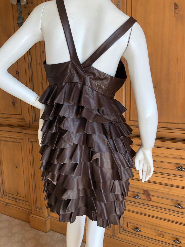 Christian Dior by John Galliano Fall 2010 Lamb Skin Leather Ruffled Mini Dress For Sale 3