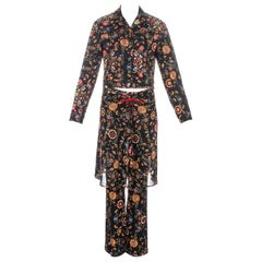 Christian Dior by John Galliano floral print three piece pant suit, fw 2002