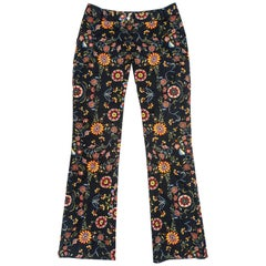 Christian Dior by John Galliano floral printed cotton flared pants, fw 2002