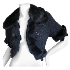 Christian Dior by John Galliano Fur Trimmed Open Weave Knit Black Sweater