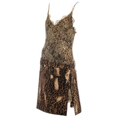 Christian Dior by John Galliano gold lace and leopard print silk dress, fw 2000