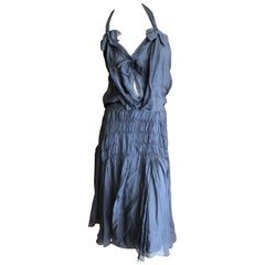Christian Dior by John Galliano Gray SIlk Dress with Bows