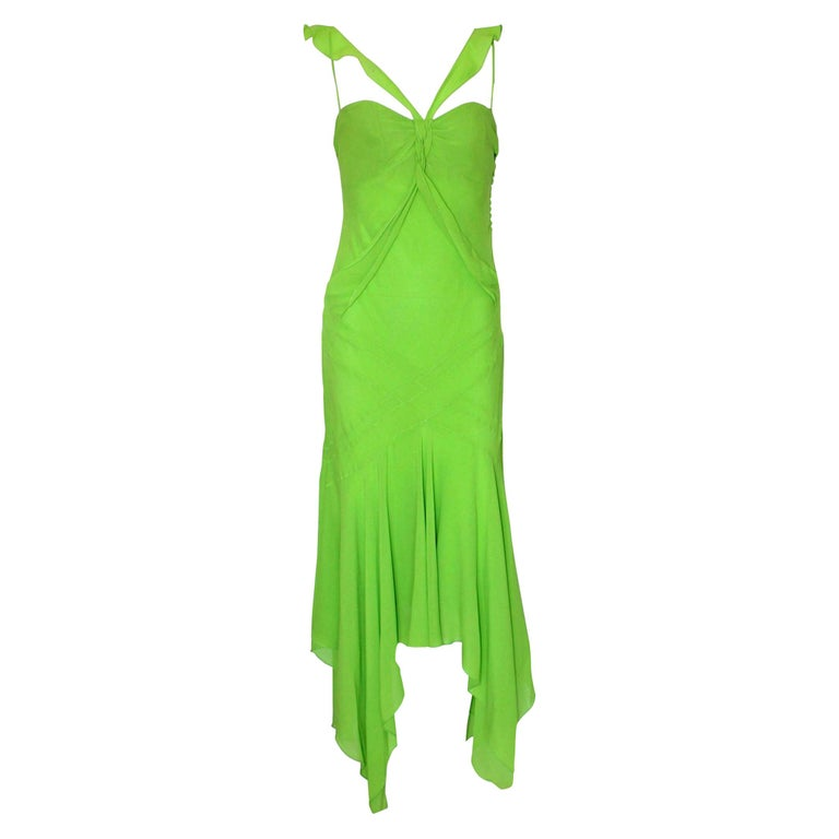 UNWORN Christian Dior by John Galliano Green Draped Silk Chiffon Dress Gown For Sale