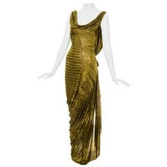 John Galliano green reptile print rayon evening dress, fw 2000