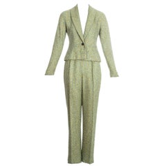 Christian Dior by John Galliano green tweed 3-piece suit, fw 1998