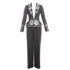Christian Dior by John Galliano grey embroidered tweed pant suit, fw 1998