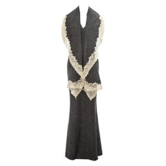 Christian Dior by John Galliano grey wool dress with cream lace trim, fw 1998