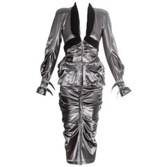 Christian Dior by John Galliano gunmetal grey corseted skirt suit, ss 2004