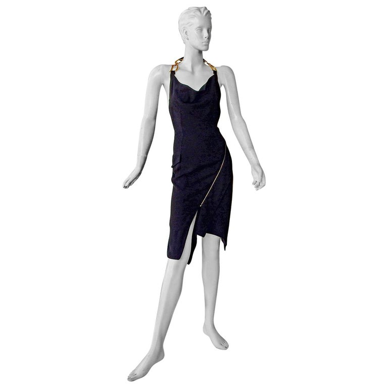 Christian Dior by John Galliano Iconic Runway Assymetric Dress w/ Logo Letters For Sale