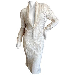 Christian Dior by John Galliano Ivory Lace Skirt Suit with Ribbed Trim