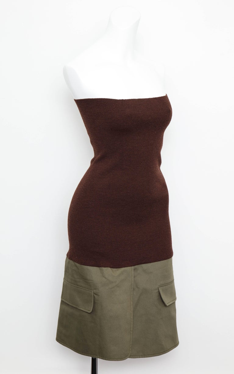 Very rare Christian Dior tube dress with knit and khaki fabric.   Size FR 36.  Chest 26 inches (the knit has lots of elasticity) Total length 32 inches