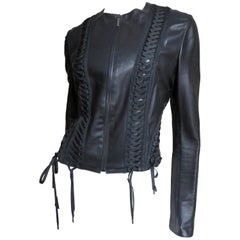 Christian Dior by John Galliano Lace-up Leather Jacket