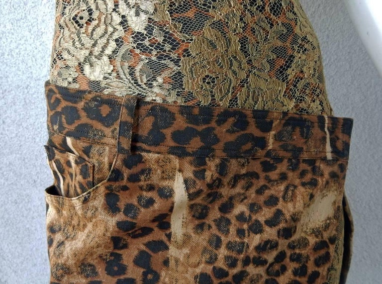 Christian Dior by Galliano Leopard and Lace Day to Evening Dress  In Excellent Condition For Sale In Los Angeles, CA