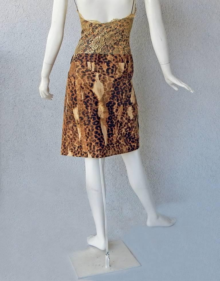 Christian Dior by Galliano Leopard and Lace Day to Evening Dress  For Sale 1