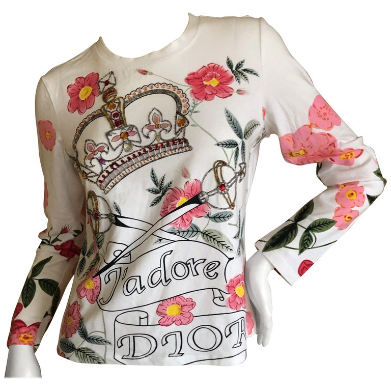 cf27d988 Christian Dior by John Galliano Long Sleeve Embellished Crown Scepter  Cotton Top For Sale