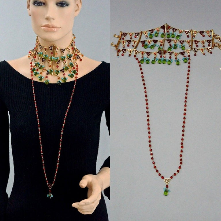 CHRISTIAN DIOR by John Galliano Maasai Poured Glass Choker Necklace  MEASUREMENTS: Height: 4.92 inches (12.5 cm) Length of Beaded Strand at the front: 15.94 inches (40.5 cm) Maximum Wearable Length: 14.76 inches (37.5 cm) adjustable  FEATURES: -