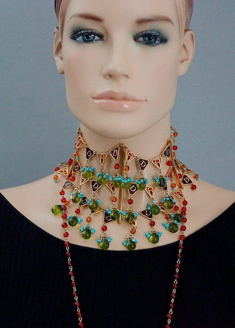 CHRISTIAN DIOR by John Galliano Maasai Poured Glass Choker Necklace For Sale 2