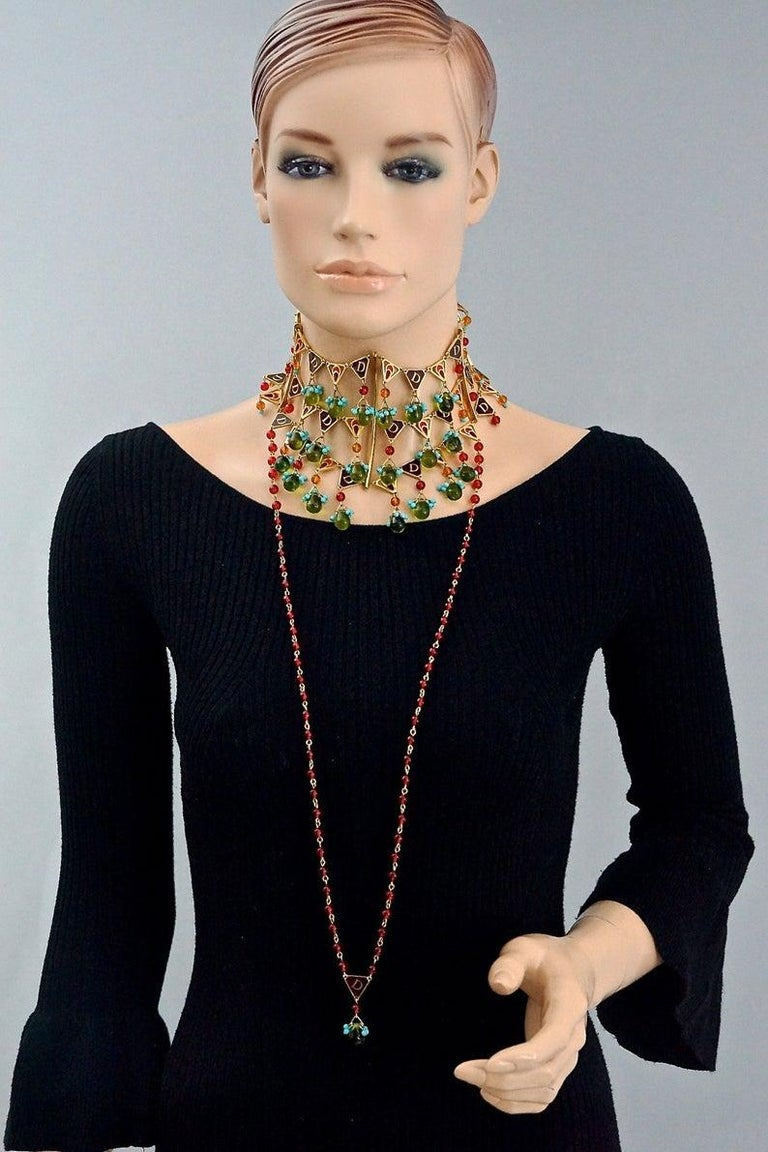 CHRISTIAN DIOR by John Galliano Maasai Poured Glass Choker Necklace For Sale 3