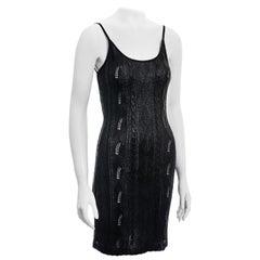 Christian Dior by John Galliano metallic black crochet knit slip dress, ss 1998