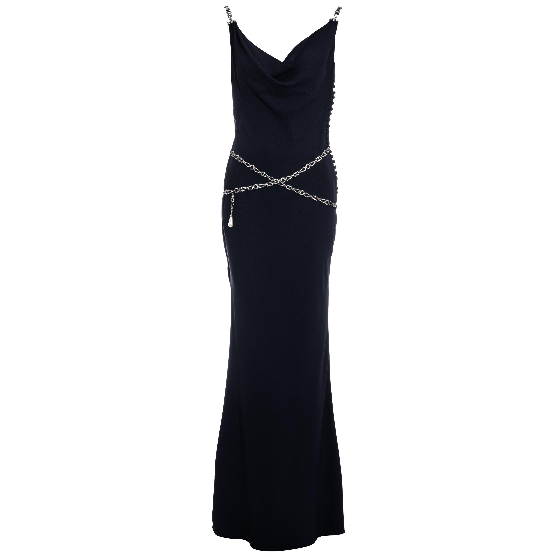Christian Dior by John Galliano midnight blue evening dress, ss 2000