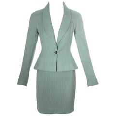 Christian Dior by John Galliano mint green wool skirt suit, ss 1998
