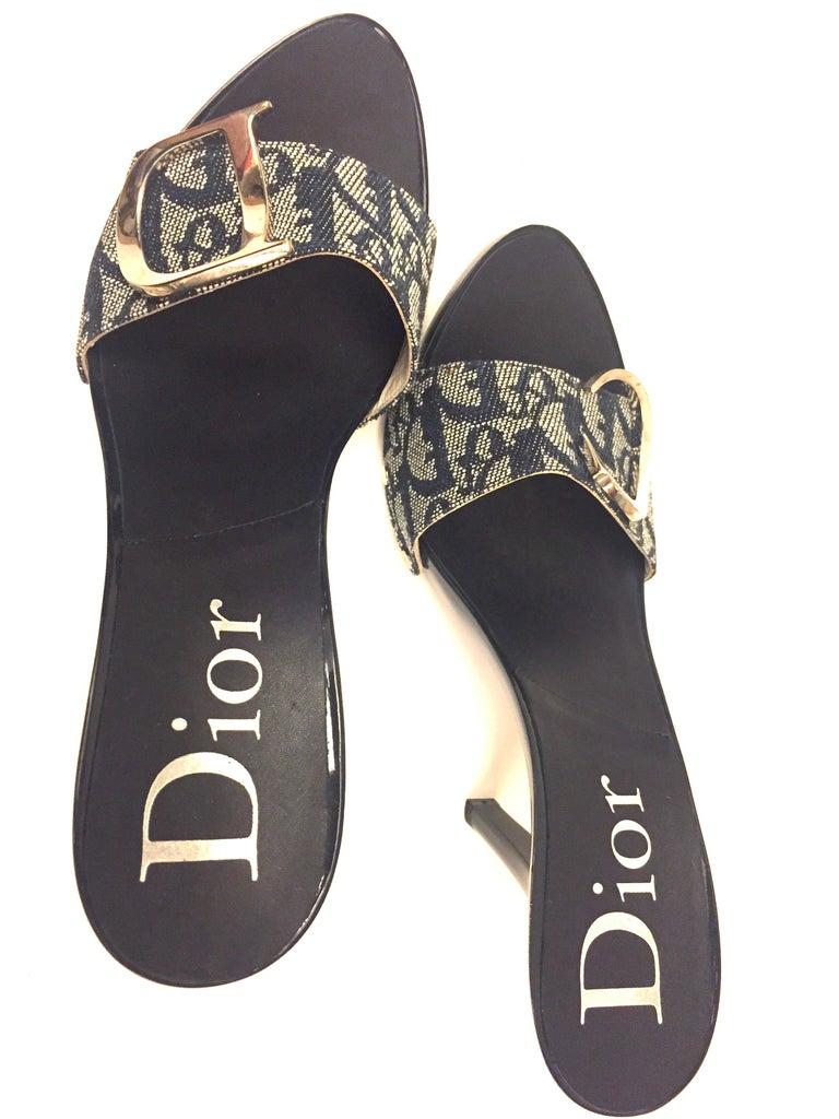 Christian Dior by John Galliano monogram denim silver toned