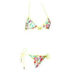 Christian Dior by John Galliano Multicolor Print Bikini with Pearl Trimming