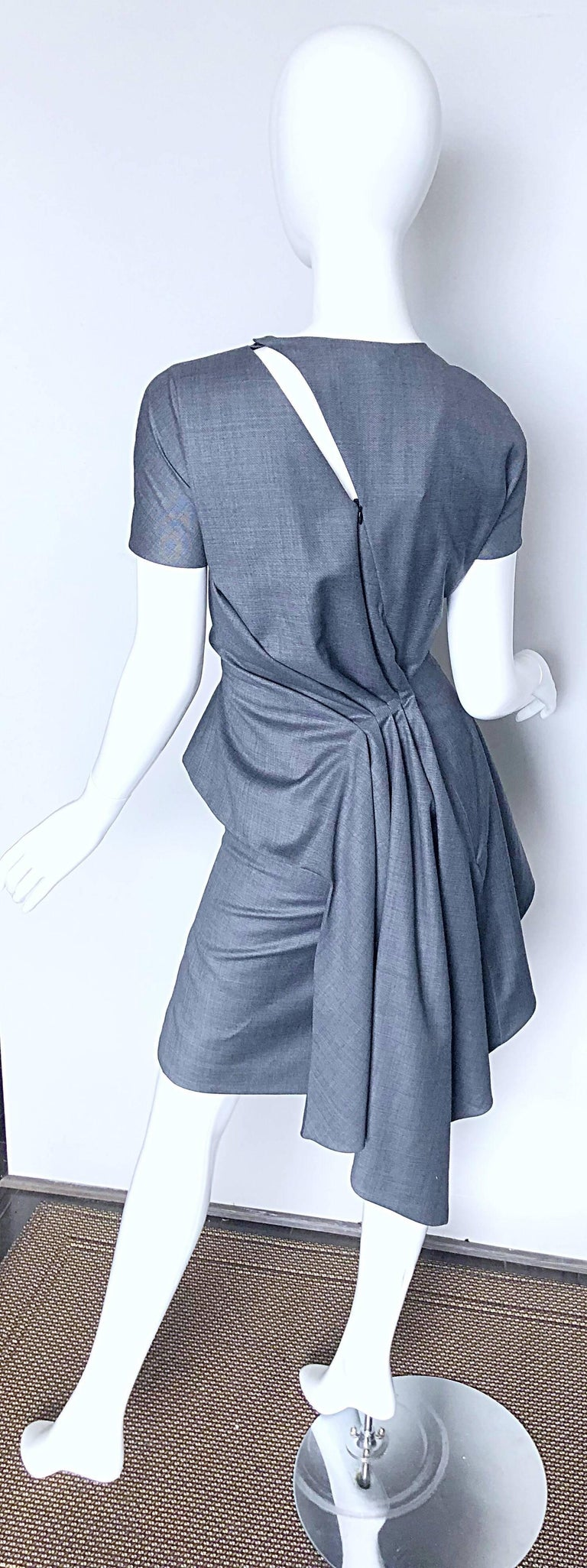 Gray Christian Dior by John Galliano Size 10 / 42 Lightweight Wool Avant Garde Dress For Sale