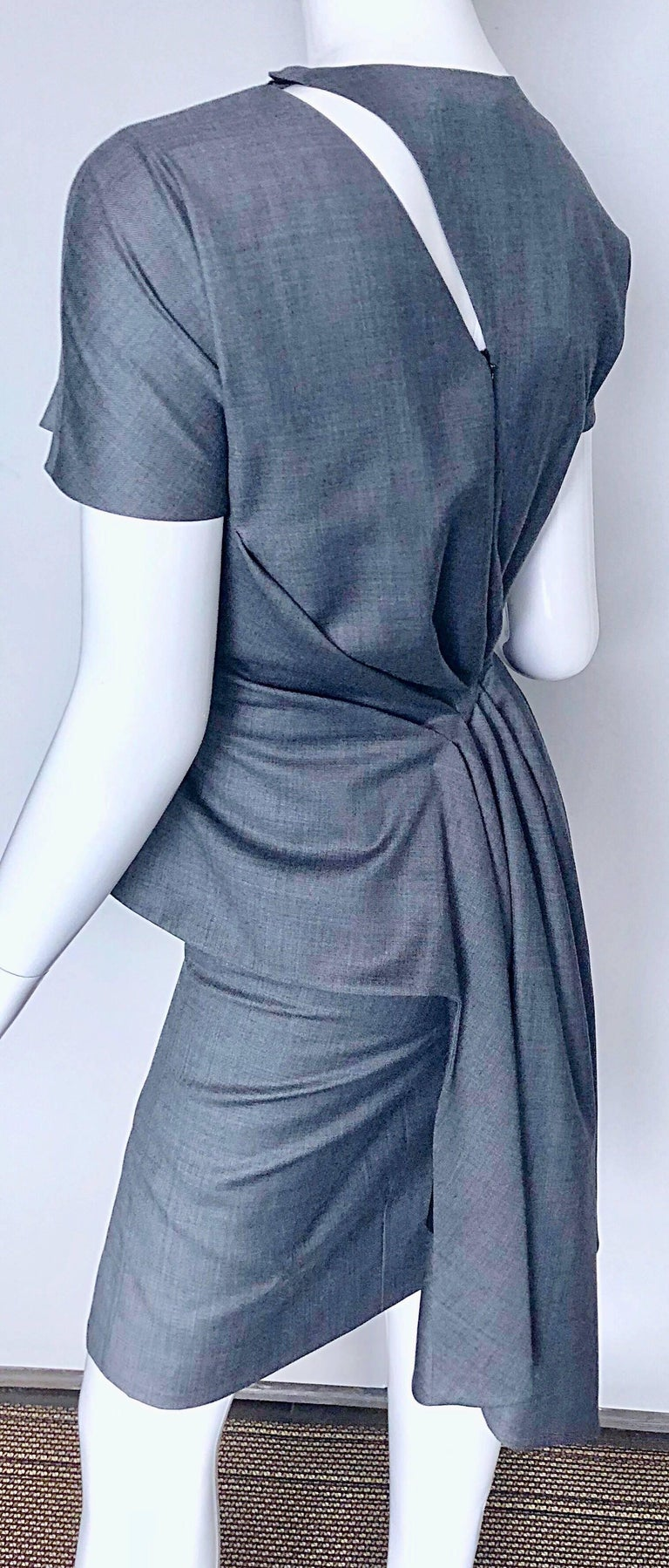 Christian Dior by John Galliano Size 10 / 42 Lightweight Wool Avant Garde Dress For Sale 2