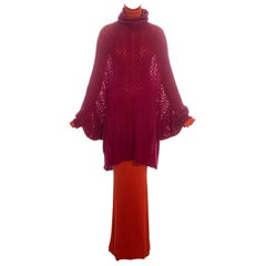 Christian Dior by John Galliano orange and maroon sweater dress set, fw 1998