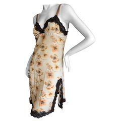 Christian Dior by John Galliano Pansy Pattern Slip Dress with Lace Inserts