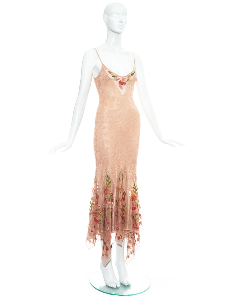 Women's Christian Dior by John Galliano peach knitted embroidered summer dress, ss 2005 For Sale