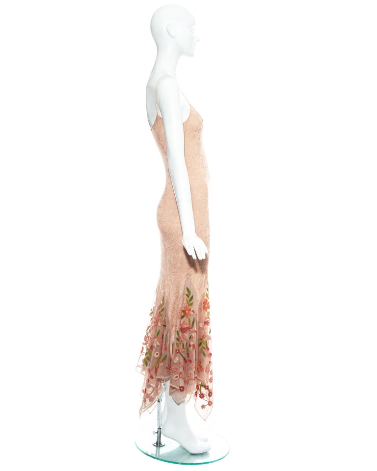 Christian Dior by John Galliano peach knitted embroidered summer dress, ss 2005 For Sale 2