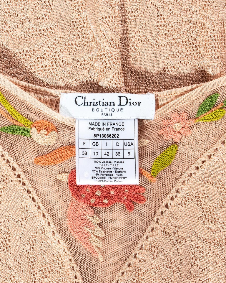 Christian Dior by John Galliano peach knitted embroidered summer dress, ss 2005 For Sale 4