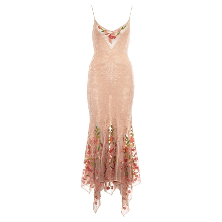 Christian Dior by John Galliano peach knitted embroidered summer dress, ss 2005 For Sale