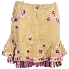 Christian Dior by John Galliano pink and cream suede embroidered skirt, ss 2005