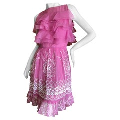 Christian Dior by John Galliano Pink Silk Dress with White Embellishments