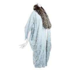 Christian Dior by John Galliano powder blue brocade and fox opera coat, fw 1998