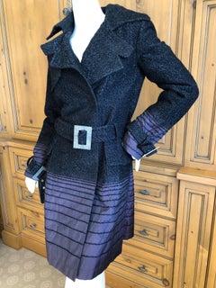 Christian Dior by John Galliano Purple Ombre Silk Metallic Tweed Trench Coat