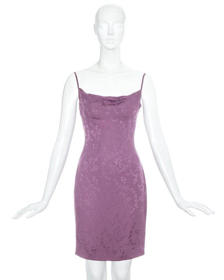 Christian Dior by John Galliano purple silk brocade slip dress with draped bust.   Spring-Summer 1998