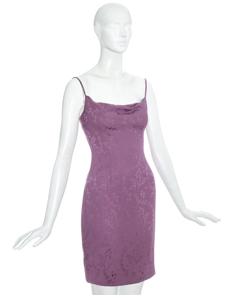 Gray Christian Dior by John Galliano purple silk brocade slip dress, ss 1998 For Sale