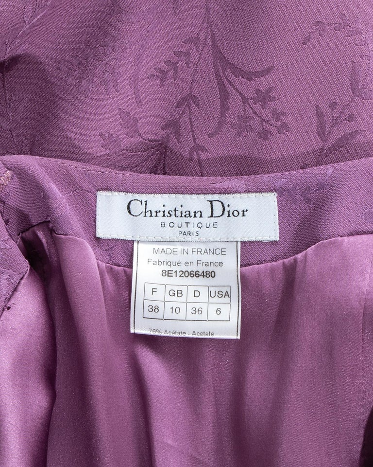 Women's Christian Dior by John Galliano purple silk brocade slip dress, ss 1998 For Sale