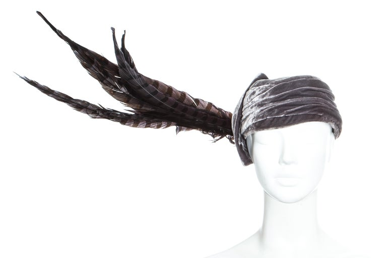 Black Christian Dior by John Galliano purple velvet pill box hat with feathers For Sale